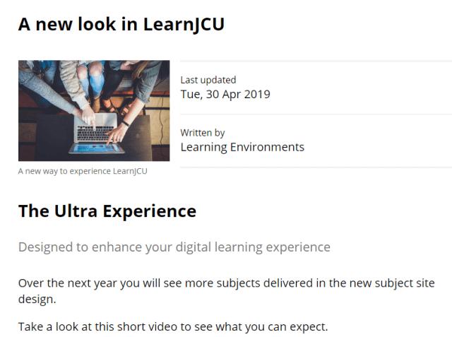 JCU Blackboard Update